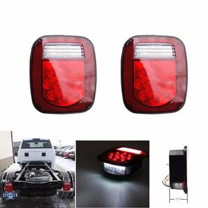 Pair Universal 39 Led Stud Mount Combination Stop Turn Tail Light For Truck Boat