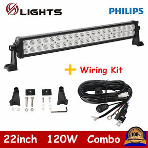 22inch 120w Philips Led Light Bar Spot Flood Beam Atv Off Road With Wiring Kit