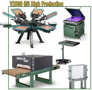 Vastex V 2000 Screen Printing Press 6 Station 6 Color High Production