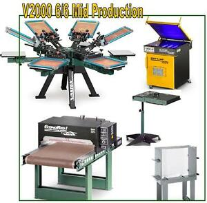 Vastex V 2000 Screen Printing Press 6 Station 6 Color Mid Production