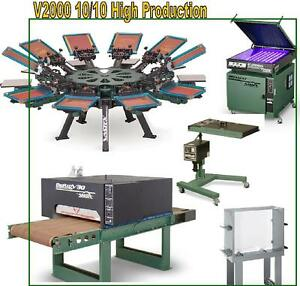 Vastex V 2000 Screen Printing Press 10 Station 10 Color High Prod