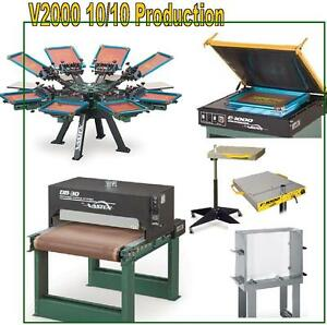 Vastex V 2000 Screen Printing Press 10 Station 10 Color Production