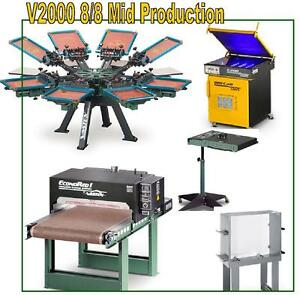 Vastex V 2000 Screen Printing Press 8 Station 8 Color Mid Production