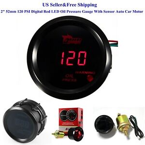 2 52mm 120 Psi Digital Red Led Oil Pressure Gauge With Sensor Auto Car Motor