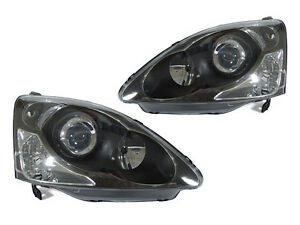 New 2002 2003 2004 2005 Honda Civic 3dr Si Ep3 Depo Black Projector Headlights