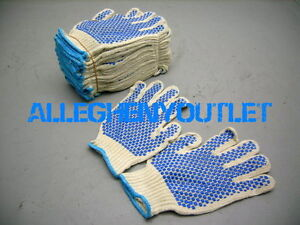 240 Pair Premium String Knit Work Glove Pvc Dot 2 Side Medium Large