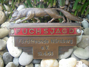 Vintage German Ford Fuchsjagd 1953 Foxhunt Rallye Automobile Car Badge