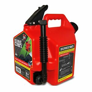 Surecan Sure22g1 2 2 Gallon Red Plastic Gasoline Can Rotation Nozzle