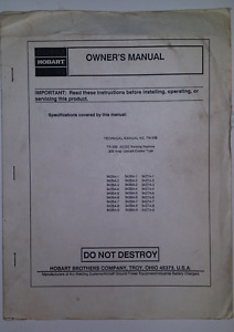 Hobart Tr 300 Ac dc Welding Machine Owner s Manual