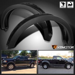 Fit 2004 2008 Ford F150 Flareside Factory Style Wheel Covers Fender Flares Black