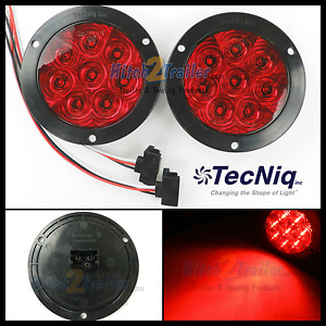 2 8 Led 4 Round Stop Turn Tail Light Red Tecniq Led Bright Flange Mount Usa