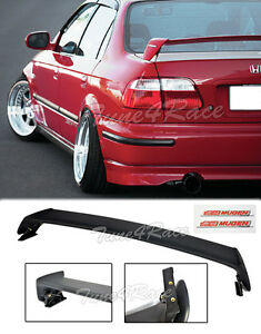For 96 00 Honda Civic Mugen Style Trunk Wing Spoiler 4dr Sedan W Red Emblems