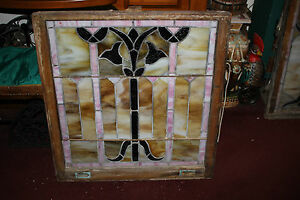 Antique Victorian Art Deco Stained Glass Window Tulip Flowers Large Architecture