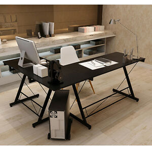 Us Stock L shape Corner Computer Desk Pc Laptop Table Workstation Home Office