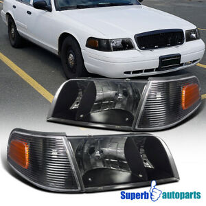 1998 2011 Ford Crown Victoria Black Crystal Headlights W Corner Signal Lamps