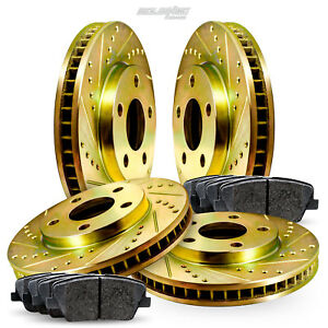 Full Kit Gold Drilled Slotted Brake Rotors And Ceramic Pads 2012 2016 Ford Focus