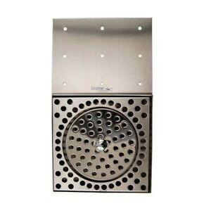 Stainless Steel Drip Tray Counter Mount With Glass Rinser And Drain