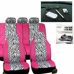 Car Seat Covers White Black Zebra For Girl Free Gift Dash Grip Pad