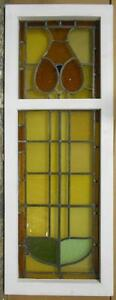 Large Old English Leaded Stained Glass Window Abstract Floral 15 5 X 41 75