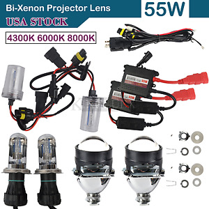 New Car Bi Xenon Hid Projector Lens Kit Hi Lo Hid Ballast H1 H4 H7 Conversion Us