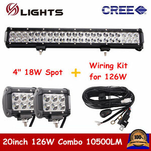 126w 20inch Cree Led Light Bar Combo Offroad Jeep Suv With 18w Spot Wiring Kit