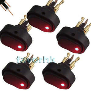 New 5x Red Led Light 12v 30a Car Boat Auto Rocker Spst Toggle On off Switch