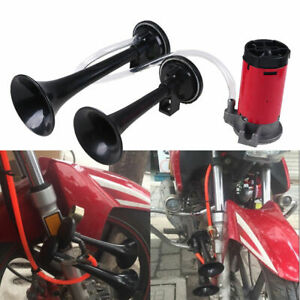 Black Motorcycle 12v Dual Trumpet Air Horn Compressor Kit 135db Loud For Suzuki