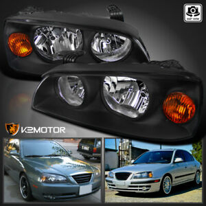 Fits 2004 2006 Hyundai Elantra Black Replacement Headlights Left right 04 06