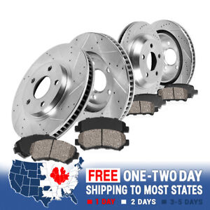 Front Rear Drill Slot Brake Rotors And Ceramic Pads For Chevy Camaro Firebird