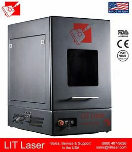 20watt Q switched Fiber Laser Marking Engraving System Fully Enclosed