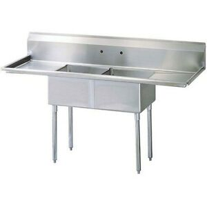 California Cooking 2 Compartment Commercial Kitchen Sink With 2 Drainboards