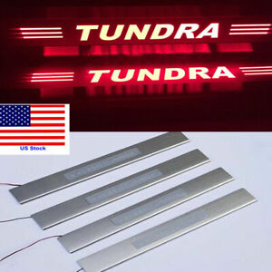 4x Red Led Light Car 4 door Sill Scuff Plate Guard Sills For Toyota Tundra 08 15