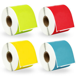 4 Rolls 1 Roll Of Red Yellow Green And Blue Shipping Labels For Dymo 30256