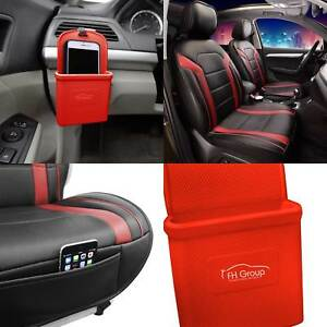 Faux Leather Air Mesh Seat Covers Cushion Pad Front Bucket Red W Phone Holder