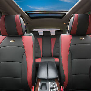 Car Suv Truck Pu Leather Seat Cushion Covers 5 Seat Full Set Black With Red Trim