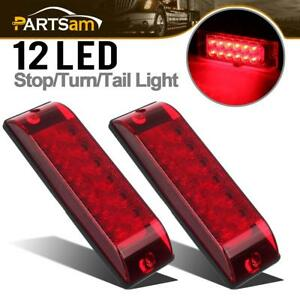 2x8 X2 5 Red 12 Led Stop Turn Tail Brake Lights Surface Mount Hi Low Brightness