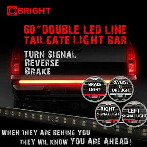 60 Flexible Double Led Tailgate Tail Light Bar Strip With 5 Function For Truck