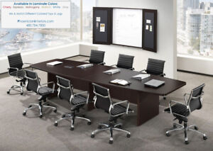 14 Foot Boat Shaped Expandable Conference Table With Grommets And 12 Chairs Set