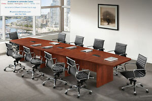 16 Foot Boat Shaped Expandable Conference Table With Grommets And 14 Chairs Set