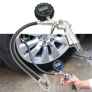 New Digital Car Tire Air Inflator 0 200psi Pressure Gauge Tester Tool Kit