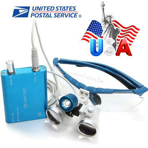 Usa Blue Dental Loupes 3 5x420mm Surgical Optical Glass With Led Head Light Lamp