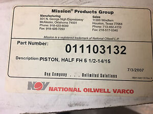 Mud Pump Piston Half Fh 5 1 2 14 15 Mission 011103132 National Oilwell Varco