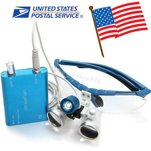 Blue Dental Surgical Binocular Loupes 3 5x 420mm Optical Glass head Light Lamp
