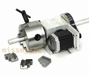 Cnc Router Rotational Rotary Axis A axle 4th axis 3 jaw 100mm b
