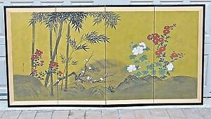Antique 19c Japanese 4 Panel Screen Painted On Gold Ground Paper Artist Seal