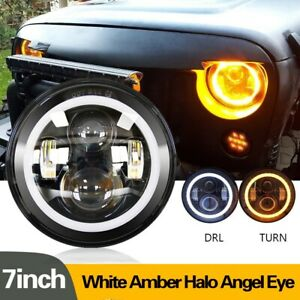 Dot 7 Inch Round Led Headlight Halo Angle Eyes For Jeep Wrangler Jk Lj Tj Cj