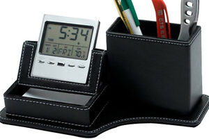 Leather Pen Pencil Holder With Clock For Desk With Business Card Holder