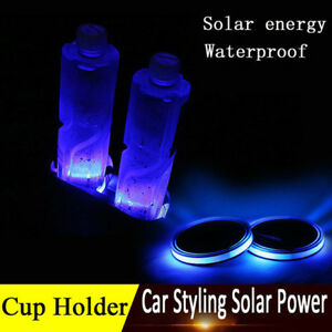 2pcs Solar Power Led Light Car Auto Water Cup Holder Bottom Mat Pad Cover Trim