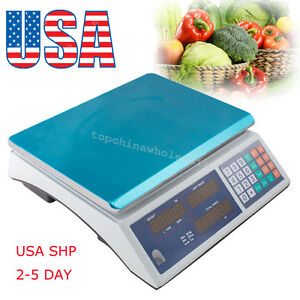Us Stock 30kg Digital Weight Scale Price Computing Fruit Meat Produce Deli Store