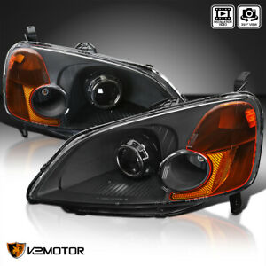 For 2001 2003 Honda Civic 2 4dr Black Projector Headlights Lamp Left Right 01 02
